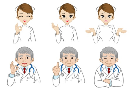Doctors and nurse facial expression Illustration