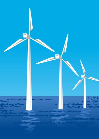 Offshore wind power  イラスト・ベクター素材