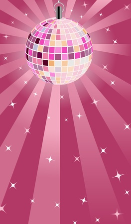 Pink Disco ball Vector