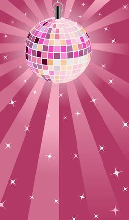 disco parties: Rosa Bola de discoteca Vectores