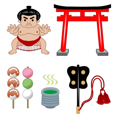 white fan: Sumo wrestler and Japanese Culture Illustration