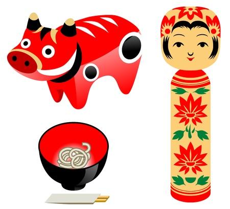 famous product Tohoku in Japan Illustration