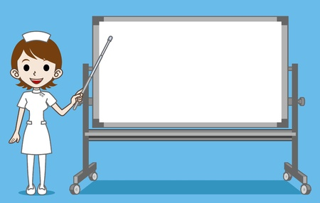 whiteboard: The nurse who explains with Whiteboard Illustration