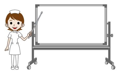 nurse cap: Infermiera Spiegare con Whiteboard Vettoriali