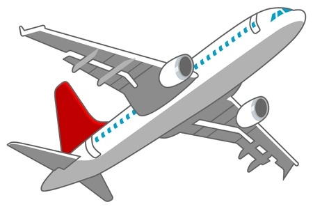 airliner: Airplane Low angle ,Red and White