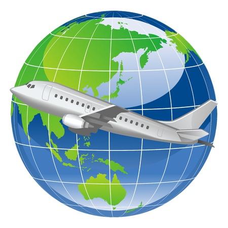 wereldbol groen: Airplane en Earth Stock Illustratie