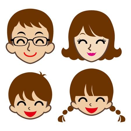 幸せ家族の顔アイコン