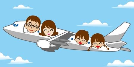 familia viaje: Viajar en Familia, el cielo azul Vectores