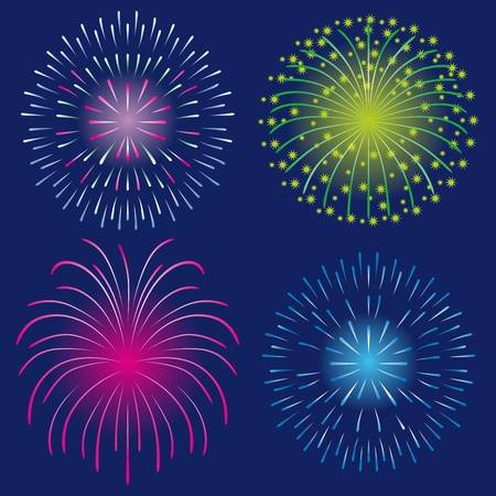 Four Fireworks Stock Vector - 13361137