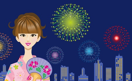 red fan: Pink Yukata Woman and fireworks Illustration