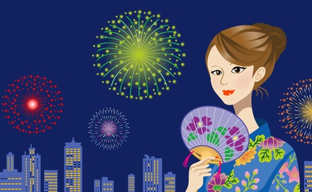 Blue Yukata Woman and fireworks Stock Vector - 13390293