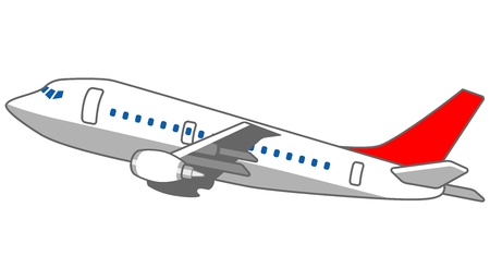 airplane travel: Airplane Red and white Illustration