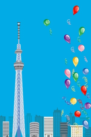 tokyo sky tree: Tokyo Sky Tree and Balloon, Vertical composition Illustration