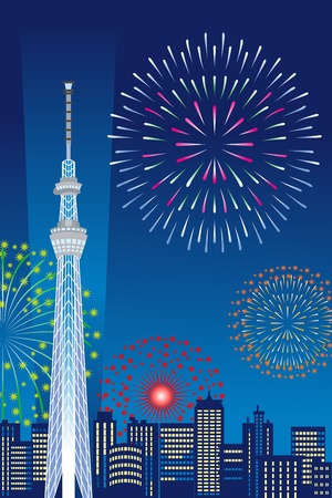 firework: Tokyo Sky Tree and Fireworks, Vertical composition Illustration