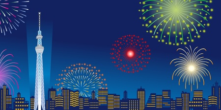Tokyo Sky Tree and Fireworks,Horizontal composition Illustration