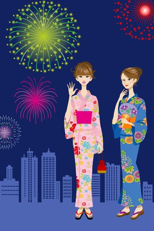 Two Yukata women and Fireworks Stock Vector - 13361485