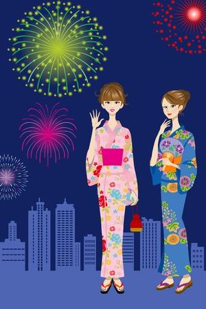 Two Yukata women and Fireworks Stock Vector - 13361485