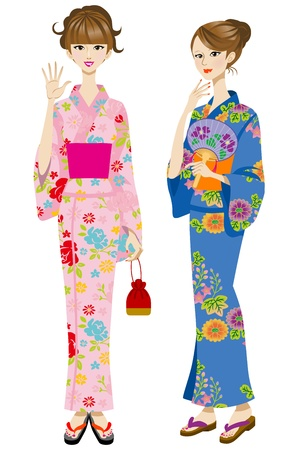 japanese kimono: Two beautiful women wearing yukata Illustration