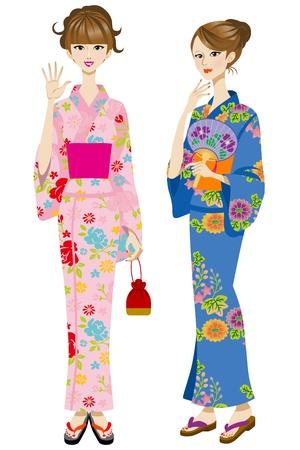 japanese fan: Two beautiful women wearing yukata Illustration