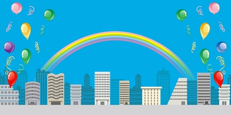 lateral: Town with Rainbow and balloon,Lateral position Illustration