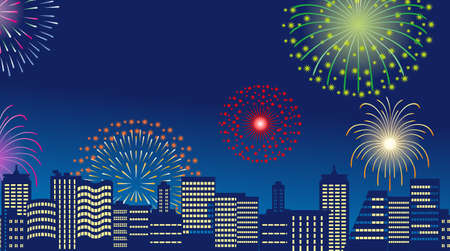 Building and fireworks,Lateral position Stock Vector - 13638529