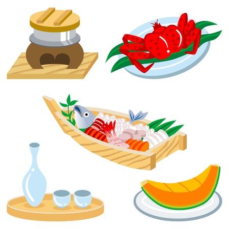 japanese sake: Conjunto de la comida japonesa Vectores