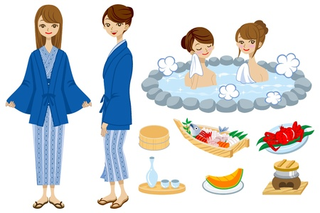 spring coat: Japanese Hot Spring set