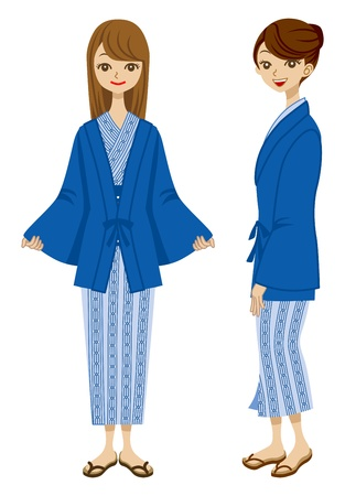 short trip: Japanese Hot Spring Yukata women Illustration