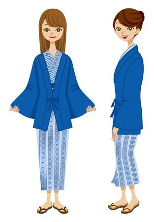 Japanese Hot Spring Yukata women Stock Vector - 13631899