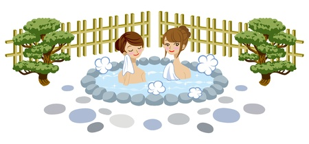 steam bath: Japanese Open air bath
