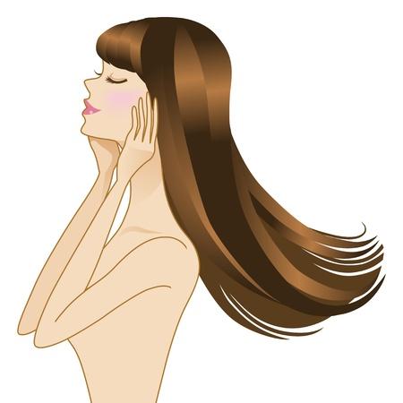 Hermosas mujeres de pelo largo, vista lateral Foto de archivo - 13878852