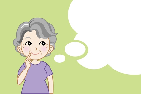 think positive: Senior woman and Speech bubble Illustration
