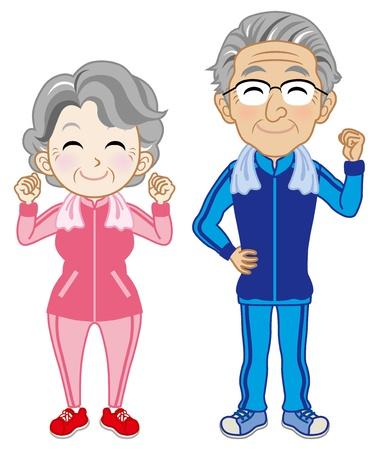 health elderly: Senior Couple wearing Sportswear Illustration
