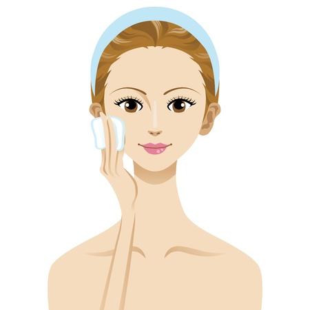 Cuidado de la piel belleza de la mujer de la imagen, con el algodón y la mano Foto de archivo - 13886191