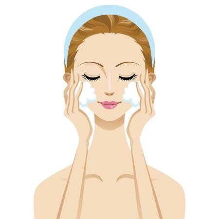 肌ケア美容女性画像、洗顔フォーム  イラスト・ベクター素材