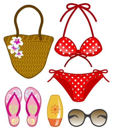 ladies summer ocean items Vector