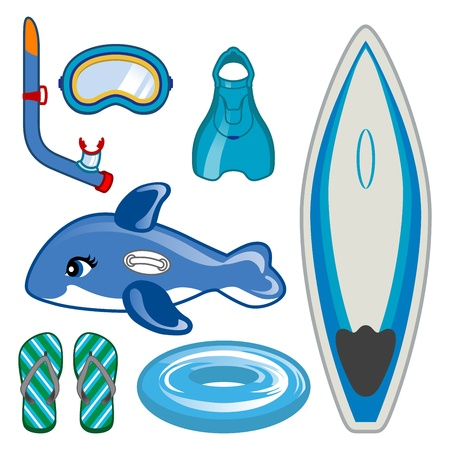 Tool set of Marine Sports ,Surfboard and snorkel Stock Vector - 13883581