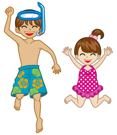兄と妹の水着を着ています。  イラスト・ベクター素材