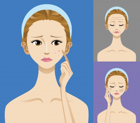 Facial skin trouble -Acne,blemish,wrinkles- Stock Vector - 13944857