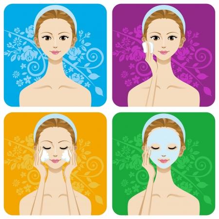 Facial Skin care image set -Cleansing,Facial Mask,Moisture retention-