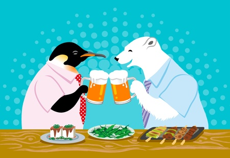 polar bear and penguin ,Toast with beer