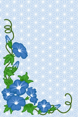 full frame: Morning glory background ,Japanese style  Illustration