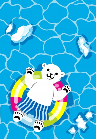 Polar bear child Playing with Inner tube Vector