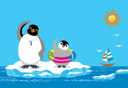 Penguin Father and child , warming up exercises in summer sea Vector