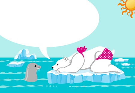 Polar bear and  seal in summer sea Stock Vector - 14320914
