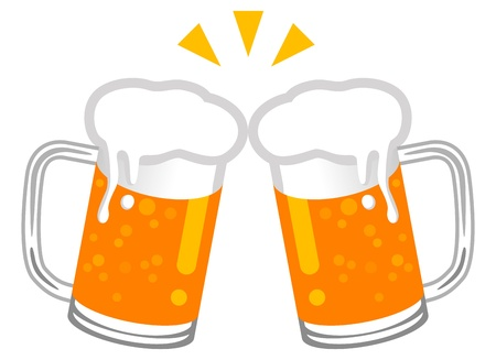 chope biere: Toast � la Bi�re Illustration