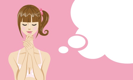 Les femmes Bikini pensée avec la bulle discours Vecteurs