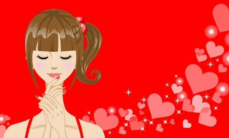Girl Close the eyes  with Heart Pattern Vector