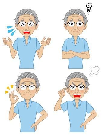 gezichts uitdrukkingen: Senior mannelijke variëteit aan gezichtsuitdrukkingen