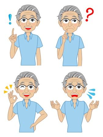 Senioren Herren Vielzahl von Gesichtsausdrücken